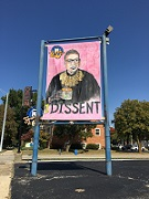 Image of Ruth Bader Ginsburg on sign in Springfield