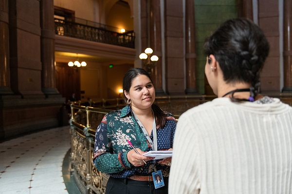 A PAR student completing an interview at the Illinois State Capitol