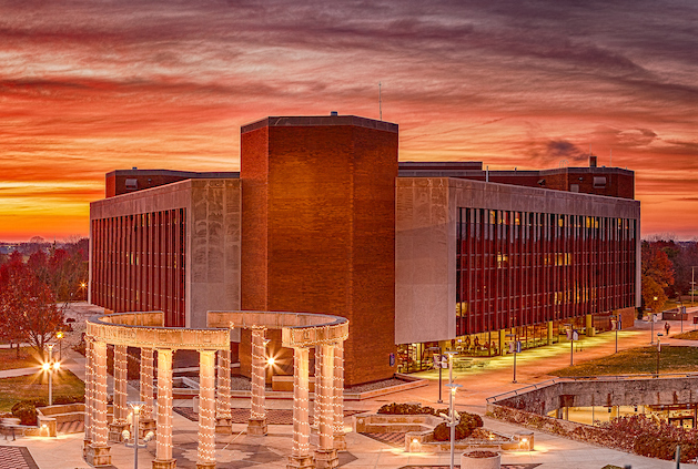 Image of the UIS Public Public Affairs Center and the Colonnade from atop the Health Sciences Building.