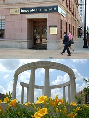 Photo of the Innovate Springfield Building in Downtown Springfield above a photo of the UIS Colonnade with yellow flowers in the foreground