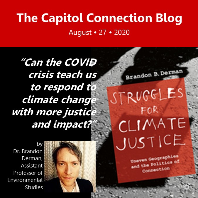 """Photo of Dr. Brandon Derman, Assistant Professor of Environmental Studies and the cover of his latest book, """"Struggles for Climate Justice"""""""