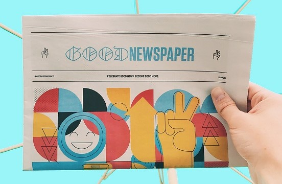 """Image of a """"Good Newspaper"""" in front of a turquoise background"""