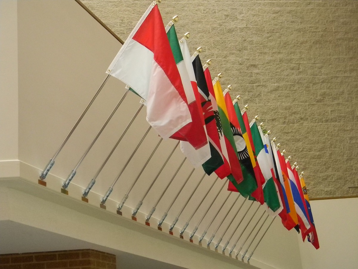 Photo of international flags in the UIS Public Affairs Center